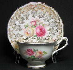 Royal Albert Gilt Floral Tea Cup and Saucer