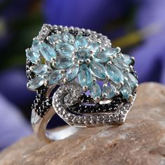 Madagascar Paraiba Apatite, White Topaz, and Thai Black Spinel Ring in Platinum Overlay Sterling Silver (Nickel Free)