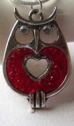 Valentine owl necklace