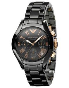 Emporio Armani Ladies Black Rose Gold Ceramica Chronograph Watch AR1411 RRP £499