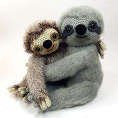 Slocombe the sloth amigurumi crochet pattern by Moji-Moji Design