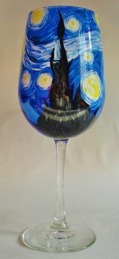 A Starry Night painted wineglass.