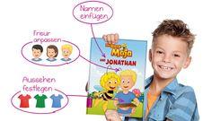 So einfach geht die Personalisierung mit unserem Buch-Designer! Im Handumdrehen wird das Kind zur Hauptfigur des Buches und erlebt Abenteuer mit seinen liebsten Kinderbuchfiguren. #BieneMaja #RitterTrenk #BibiundTina #Olchis #BenjaminBlümchen #Conni #Wickie #Sesamstraße #BibiBlocksberg