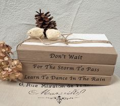 Don't wait for the storm to pass. Learn to dance in the rain. School Art Projects, Book Projects, Craft Projects, Handmade Crafts, Diy And Crafts, Paper Crafts, Handmade Books, Old Book Crafts, Farmhouse Books