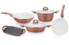 Forged Aluminium Cookware Set, 9 stuks, stenen bekleding:  - 24 cm braadpan met glazen deksel - 24 cm koekenpan - 28 cm ondiepe braadpan met glazen deksel - 28 cm wok - 36 cm twee handvat grillpan - 1 paar siliconen handvat beschermer