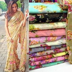Floral georgette saree available in multiple colour option pick your favorite before its Out of stock To purchase mail us at… Sari Design, Kurta Designs, Saree Blouse Designs, Indian Dresses, Indian Outfits, Sari Bluse, Floral Print Sarees, Floral Prints, Elegant Saree