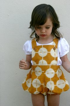 spotty mustard vintage sunsuit. size 2T. $35.00, via Etsy.