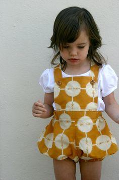 spotty mustard vintage sunsuit. size 2T. $35.00, via Etsy.