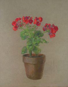 """Geraniums""  Odilon Redon  French Drawing"