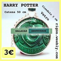 COLLANA HARRY POTTER SALAZAR SERPEVERDE SLYTHERIN  50 Cm VETRO 3€