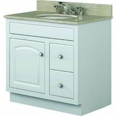 """24X21 WHT RTA VANITY (Sunnywood Prod. CW2421D) by Sunnywood. $322.93. Ready-to-assemble MDF and plywood construction. 1-piece MDF face frame offers a jointless appearance. 3/4"""" solid MDF 1-piece, arched, raised panel doors and MDF drawer fronts. Plywood cabinet and drawer boxes. UV protected finish to prevent yellowing. Bright brass hardware included. Exposed door hinges. Dual side mounted epoxy-coated steel drawer slides. Vanity top and faucet not included. 2..."""