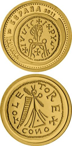 N♡T.20 euro: 3rd Series Numismatic Treasures – Leovigild Visigothic tremissis.Country:Spain  Mintage year:2011 Face value:20 euro Diameter:13.92 mm Weight:1.24 g Alloy:Gold Quality:Proof Mintage:12,000 pc proof Issue price:75 euro