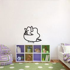 Cute Tiny Monster Dinosaur Doodle Wall Decal perfectly designed to decorate your kids bedroom door or walls.