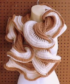 Learn how to crochet the LATTE Ruffle Infinity Cowl Scarf Pattern
