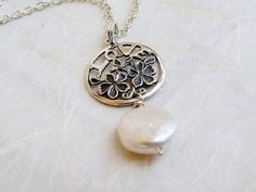 LOVE Charm Freshwater Pearl Pendant Necklace by expressyourself, $58.00