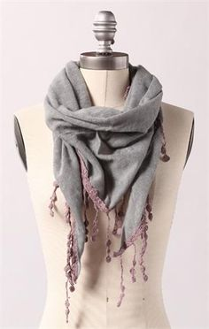cute scarf from DownEast Basics!  I'd probably ruin that fringe in the wash, though.
