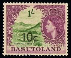 Philasearch.com - Basutoland. 61-71b (58//68b) 1961 ½¢ on ½d-1R on 5' Q Elizabeth II Pictorials surcharged locally (Pretoria), wmkd Script CA, perf 13½, cplt (21) with all surcharge varieties, OG, VLH, F-VF  Anbieter Colonial Stamp Company  Saalauktion Ausruf: 220.00 US$ (ca. 174 EUR)