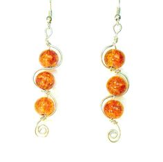 Amber color Dangles Wire wrap earrings Boho by Italianwench, $13.50