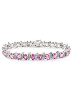 Amour 14.5 TCW Rhodium Plated Sterling Silver Sapphire Tennis Bracelet
