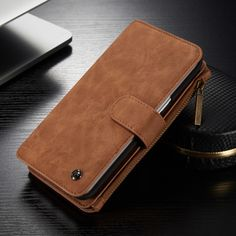 CaseMe Brand Cover Luxury Vintage Leather Wallet Case for Samsung Galaxy S6 Edge Plus Mobile Phone Zipper Bag with Card Holders -*- AliExpress Affiliate's buyable pin. Locate the offer on www.aliexpress.com simply by clicking the image