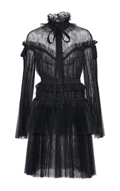 Long Sleeve Tulle And Lace Dress by Elie Saab