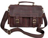 High Quanlity 14 Inch Men's Handmade Genuine Leather Briefcase Messenger Laptop Satchel Bag #6037
