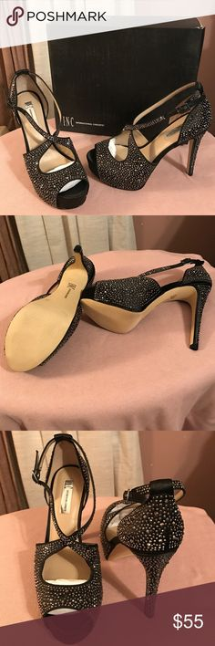 """Designer Shoes New w/Box!  Black Canvas Opened-Toe Sandal Shoe with 5.25"""" Heel and 1"""" Concealed Platform!  This shoe is covered totally with embellishments!  Please note that this shoe was a """"Display"""" and the """"right"""" shoe has a few embellishments missing (see 4th pic) but are not noticeable when wearing!  However, the price has been reduced to reflex this small flaw!  All Serious Offers Considered!  Please No """"Low"""" Balling🌹 INC International Concepts Shoes Heels"""