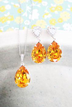 Sunflower Yellow Swarovski Crystal Teardrop (13mm x 18 mm) in Sterling Silver plated settings. // Earrings // Cubic zirconia Teardrop earrings,