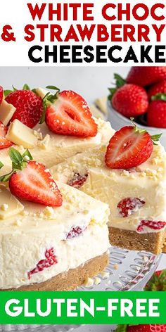 Strawberry Cheesecake No Bake, Best No Bake Cheesecake, Dairy Free Cheesecake, Strawberry Desserts, Cheesecake Recipes, Cheesecake Cake, Lactose Free Desserts, Gluten Free Deserts, Foods With Gluten