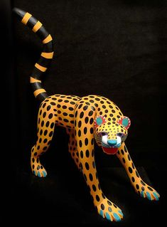 Jimenez - carved + intricately painted wooden Alebrijes (vividly portrayed animals, both mythical and actual) Jaguar Mexico, Unicorn Cat, Indigenous Art, Mexican Folk Art, Wood Sculpture, Native American Art, Cat Art, Unique Art, Les Oeuvres