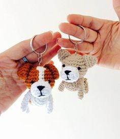 Amigurumi Crochet Spaniel Dog Dog key ring Crochet Dog Dog