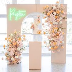 So in love with this setup 😍✨ Event planner/ Styling: Florals: Neon sign: Cake: Balloons: Cookies: Linen: Candles: Tables / chairs: Image: Stage Decorations, Wedding Ceremony Decorations, Ceremony Backdrop, Wedding Aisles, Wedding Backdrops, Wedding Ceremonies, Wedding Mandap, Decoration Party, Wedding Receptions