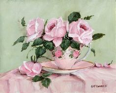 PRINT ON PAPER - Roses in a Vintage Tea Cup - FREE POSTAGE WORLDWIDE