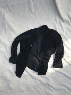 Vintage Velour Black Button Up Top | Etsy