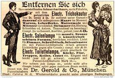 Original-Werbung/ Anzeige 1894 - ELECTRISCHER TRICHOKAUTER / DR. GEROLD - MÜNCHEN - ca 90 X 60 mm