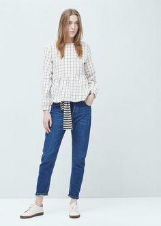 Check cotton blouse - Shirts for Women | MANGO