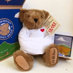 "Very Rare Vermont Teddy Bear ""Crazy For You"" Bear SIGNED BY ELISABETH ROBERT #VermontTeddyBear #ValentinesDay"