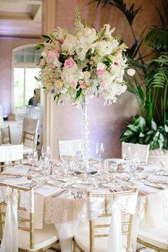 Tall Centerpiece | Lace Table Cloth | Elegant Wedding Reception | Photography: Nancy Aidee Photography