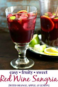 Sweet red wine sangria is made with wine brandy and fresh fruit like orange lemon and green apple. Its a refreshing makeahead beverage perfect for any occasion Sangria Drink, Apple Cider Sangria, White Wine Sangria, Peach Sangria, Sangria Party, Sangria Fruit, Red Wine Drinks, Blackberry Sangria, Sangria Punch