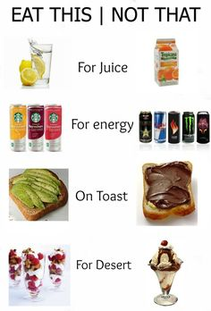 Eat this. Not that See Also: 26 Benefits of Drinking Lemon Water 20 metabolism boosting foods The Best 3 Healthy Weight Loss Drin. Get Healthy, Healthy Tips, Healthy Snacks, Healthy Recipes, Healthy Fridge, Healthy Junk Food, Clean Recipes, Healthy Weight, Eating Healthy