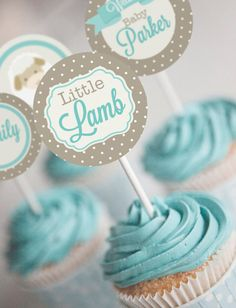Little Lamb Baby Shower Cupcake Toppers  Lamb by SunshineParties