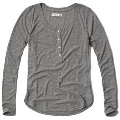 Abercrombie & Fitch Drapey Ribbed Henley ($15) ❤ liked on Polyvore featuring tops, blusas, light heather grey, ribbed top, drape top, henley top, abercrombie & fitch and drapey top