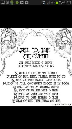 A simple Pagan knot spell for employment Wiccan Witch, Wicca Witchcraft, Magick Spells, Witch Spell, Practical Magic, Book Of Shadows, Spelling, Bullet Journal, Words