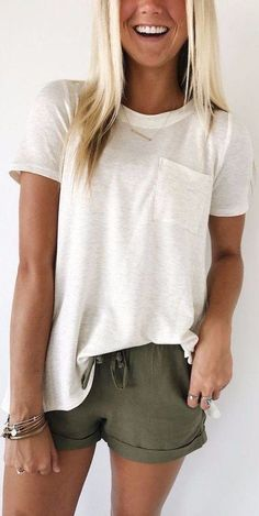 olive green shorts   top simple summer look