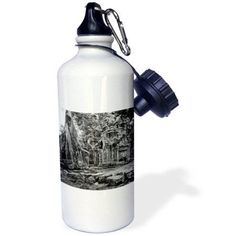3dRose Black and White Theravada Buddhism from Phras Ang Tep Monastery at Cambodia, Sports Water Bottle, 21oz