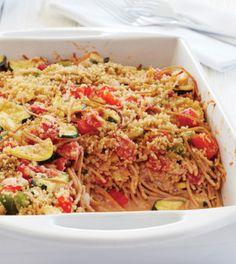 Garden spaghetti casserole