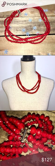 """Donna Dressler Triple Strand Red Crystal Necklace Showstopping in rich red, this triple strand red faceted crystal necklace with a sterling silver barrel slide and lock clasp is sure to make a statement and bring a finished look to your ensemble. Perfect for any jewelry collection. Length:22.5"""" In perfect condition. Jewelry Necklaces"""