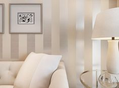 Nice wall color for living room. Non-woven metallic glitter wallpaper modern background wall wallpaper white and silver classic stripe wall papers home decor Living Room Sofa, Living Room Decor, Bedroom Decor, Wall Decor, Decorating Bedrooms, Wall Paper For Bedroom, Decorating Ideas, Paint Decor, Home Living