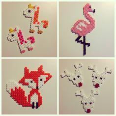Design by saraseir. Fuse Beads, Hama Beads, Pearl Beads Pattern, Flamingo Craft, Peler Beads, Pearler Bead Patterns, Iron Beads, Crafts For Kids, Diy Crafts