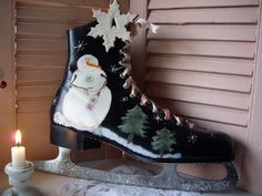 Hand Painted Ice Skate Christmas Decoration by WhatsThiss on Etsy